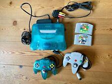 Nintendo N 64 Konsole clear Blue + original Controller + Mario Kart 64 + u.v.m.