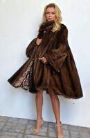 Manteau large de 2 m, en vison véritable, d'élevage, couleur marron,sur commande