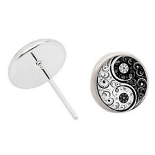 Pair Round Silver Tone Ying Yang Stud Earrings 18mm #2 S6Z1