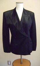 Vintage NORMA KAMALI Black Satin TUXEDO JACKET BLAZER SIZE 4 USA Fully Lined