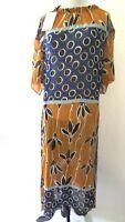 Zara  Women's  Geometric Floral  Print  Lined  Short Sleeve Dress  Size  L