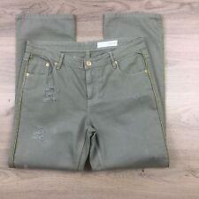 Sass & Bide Womens Jeans Playman Boyfriend Khaki Green Distressed Size 27 (AQ11)