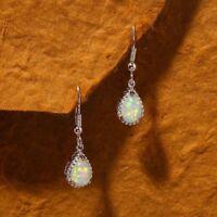 Women's Vintage Silver Plated White Fire Opal Wedding Dangle Drop Hoop Earrings