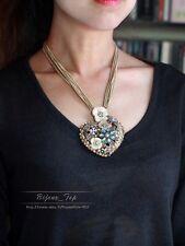 Collier Multirang Chaine Fin Pendantif Coeur Email Fleur Beige Abeille QT 1