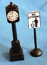 "Vintage 3"" Village Clock & Sign Miniatures"