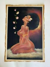 HAND PAINTED AFRICAN AMERICAN  ART, NUDE WOMAN VELVET PAINTING,  38.5
