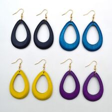 1Pair Retro Women Wood Hollow National Stylish Dangle Drop Earrings Jewelry Gift