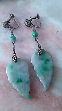 VICTORIAN ANTIQUE APPLE JADE AND STERLING SILVER EARRINGS