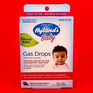 Hyland's Baby Natural Pain Stomach Discomfort GAS DROPS Relief Grape 1 oz