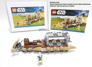 LEGO STAR WARS THE BATTLE OF NABOO TROOP CARRIER & PILOT DROID FIGURE FROM 7929