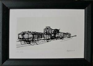 RENZO VESPIGNANI serigrafia il Treno 1980  21x14 firmata numerata 137/150