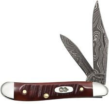 CASE XX Sawcut Chestnut Bone Carbon Damascus Steel Peanut 1/500 Pocket Knife