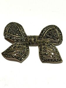 Sterling Silver Marcasite Bow Pin