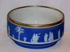 """OLD WEDGWOOD BLUE JASPA WARE 9"""" BOWL WITH METAL RIM 4 1/2"""" TALL LOVELY CONDITION"""