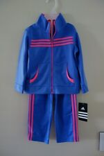 ADIDAS 2 PIECE TRACKSUIT SET BOTTOM TOP - NEW SIZE 24 MONTHS PURPLE TRICOT GIRL