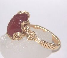 Egyptian SCARAB Ring CARNELIAN Carved Gem Cabochon 14kgf Gold size 7