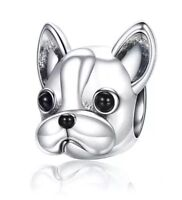💎🎀 STERLING SILVER 925 FRENCH BULLDOG DOG CHARM & GIFT POUCH