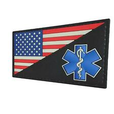 American USA flag Star of Life EMS EMT PVC rubber parche fastener patch