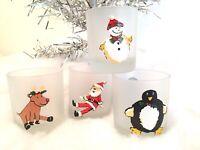 Dartington Frosted Christmas Highball Whiskey Glasses (4) France Reindeer, Santa
