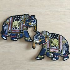 1 Pair Elephant Embroidery Sew Iron On Patch Badge Clothes Applique Craft Gifts