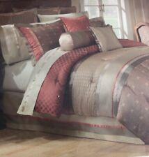 Waterford Bogden King Size Dual Bedskirt Linens Cinnabar Stripe New Fits 78�x80�