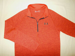 UNDER ARMOUR 1/2 ZIP LONG SLEEVE HEATHER ORANGE ATHLETIC SHIRT MENS SMALL EXCELL