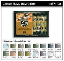 Vallejo Airbrush Paint RLM Complete Set x15 + Matt Varnish 17ml VAL 71193