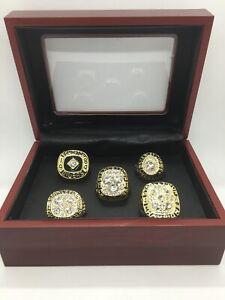5 Pcs Edmonton Oilers Ring Set Hockey Championship Ring Set with Display Box