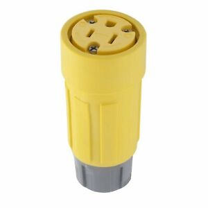 Hubbell Yellow Female Watertight Straight Blade Connector 5-15R 15A 125V 15W47