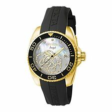 Invicta Womens Angel Collection Cubic Zirconia-Accented Watch W/ Black PU Band