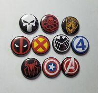 "MARVEL COMICS LOGO 1"" PINBACK BUTTON COLLECTION LOT of 10 -pin badge x men hydra"