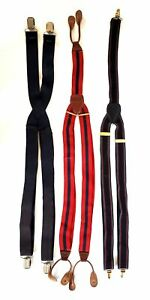 Lot of 3 Vintage Mens Stretch Suspenders Clothing Accessory Clip Clasp Button