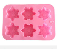 6-Snowflake Snow Soap Flexible Silicone Mould For Candy Chocolate Cake Mold