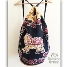 Fair Trade Indian Elephant Drawstring Black Cotton Canvas Hippie Yoga Backpack