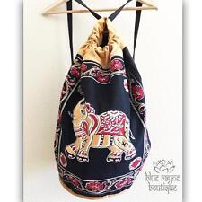 Fair Trade Indian Elephant Drawstring Black Cotton Canvas Hippie Yoga Backpack