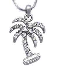 Clear Crystal Tropical Palm Tree Charm Pendant Necklace Fashion Jewelry n20