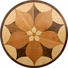 "24"" Wood Floor Medallion Inlay 44 Piece kit Spring Flower DIY Flooring Table Box"