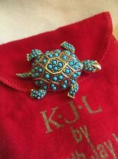 Kenneth Jay Lane Turtle Brooch KJL Rare