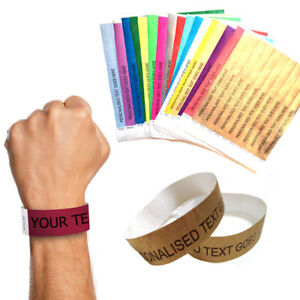 100 Personalised Paper Wristbands Tyvek Birthday Halloween Party Event Ticket