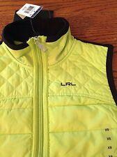 NWT Ralph Lauren Women's Size XS TP Quilted Front Zipper Vest Neon Green