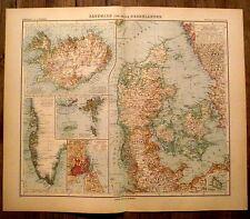 Carte geographique Danemark,Denmark ,1910,