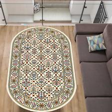 Teppich Oval 100 x 180 & 120 x 170 Creme Klassisch Orientalisch mit Umrandung