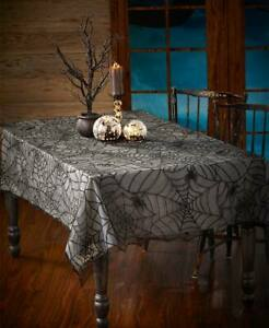 """84"""" x 60"""" Spooky Spider Web Black Lace Halloween Rectangle Polyester Tablecloth"""