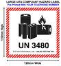 500 IATA UN3480 LITHIUM BATTERY HAZARD WARNING Labels 120x110 WITH TEL UN3480-TL