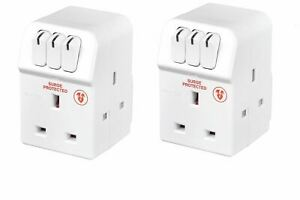 Twin Pack Masterplug MSWRG3-MP 13A 3-Socket Indoor Power Surge Protected Adapter