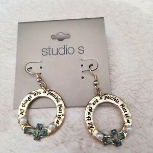 Gold Inspirational Dangle Earrings Cross Religious Matt 19:28 Studio S