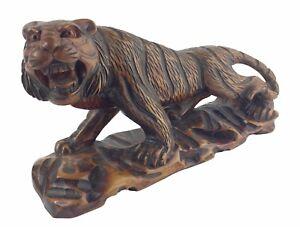"Vintage 15"" Carved Solid Walnut Wood Statue Prowling Bengal Tiger Netsuke Figure"