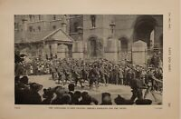 1914 WW1 PRINT GRENADIER GUARDS LEAVING CHELSEA BARRACKS FOR THE FRONT