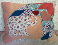 NEW Handmade Elephant Pillow Vintage Quilt Old Chenille Bedspread Super Cute!!