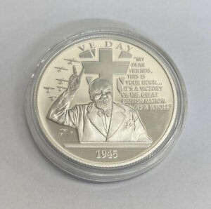 THE HISTORY OF BRITAIN 1OZ 999 FINE SILVER VE Day COIN